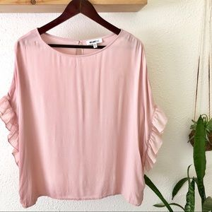 William Rast rose colored pink ruffle sleeve top